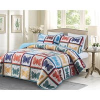 3 piece Oversized King Quilt Set - Butterfly
