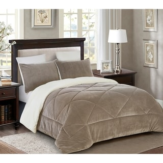 Reversible 3 piece Fleece/Sherpa Down Alternative Comforter set - Full/Queen - Taupe