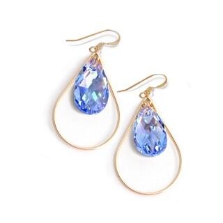 Sonia Hou Selfie Genuine Sake Blue Crystals In 14K Gold Filled Tear Drop Dangle Earrings
