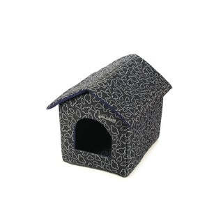 Soft Portable Indoor Pet House with Bed Mat - Black
