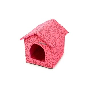 Soft Portable Indoor Pet House with Bed Mat - Pink
