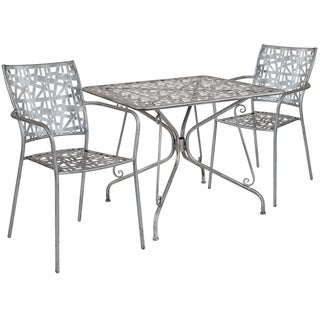 Lancaster Home Stainless Steel 3-piece Square Table and Chairs Set