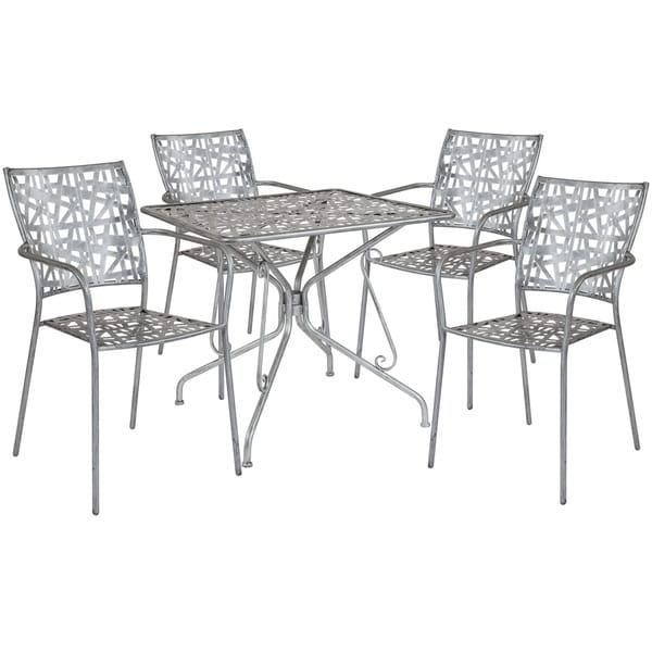 Lancaster Home Grey Stainless Steel Outdoor Table Set Free Shipping Today 26385956