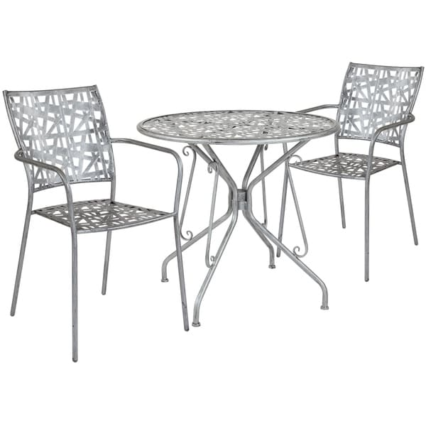 Lancaster Home Stainless Steel 3-piece Round Table and Chairs Set