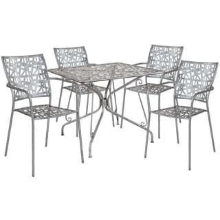 Lancaster Home Grey Metal Patio Table Set
