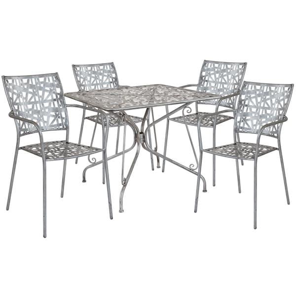 Lancaster Home Grey Metal Patio Table Set
