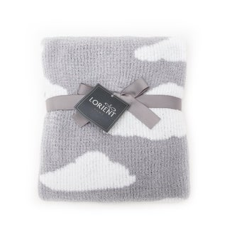 Chenille Baby Blanket - Soft Throw Blanket for Cribs and Strollers - Clouds - Grey