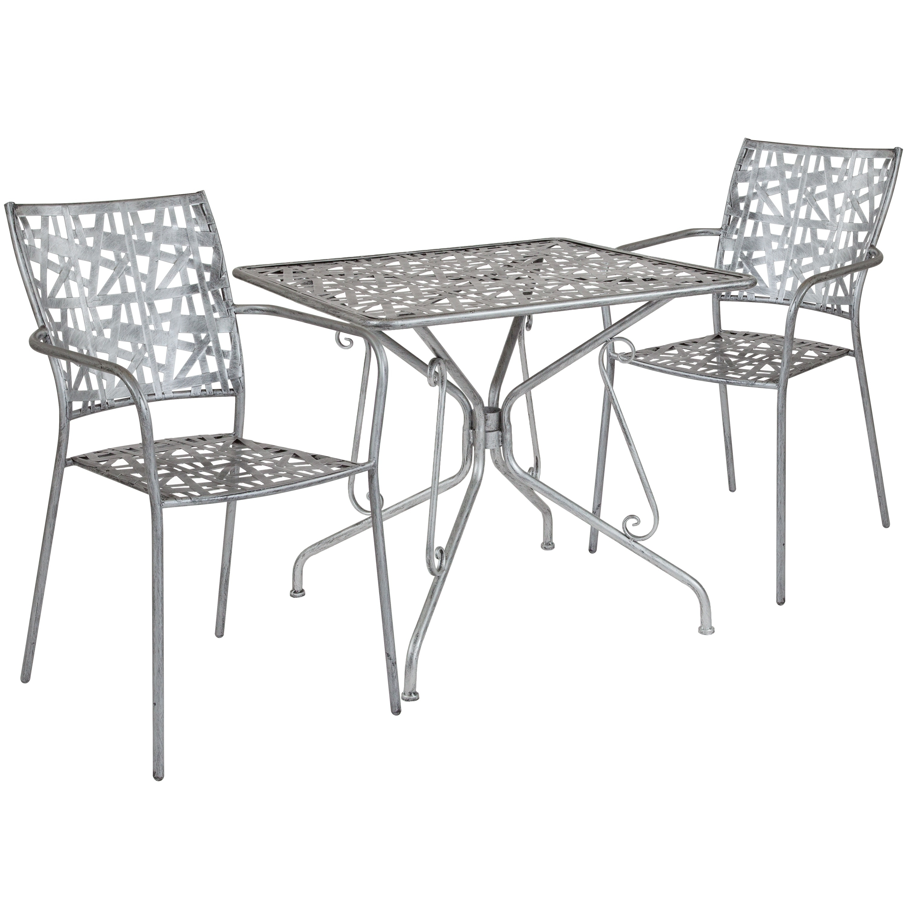 Lancaster Home Stainless Steel 8-piece Square Table and Chair Set