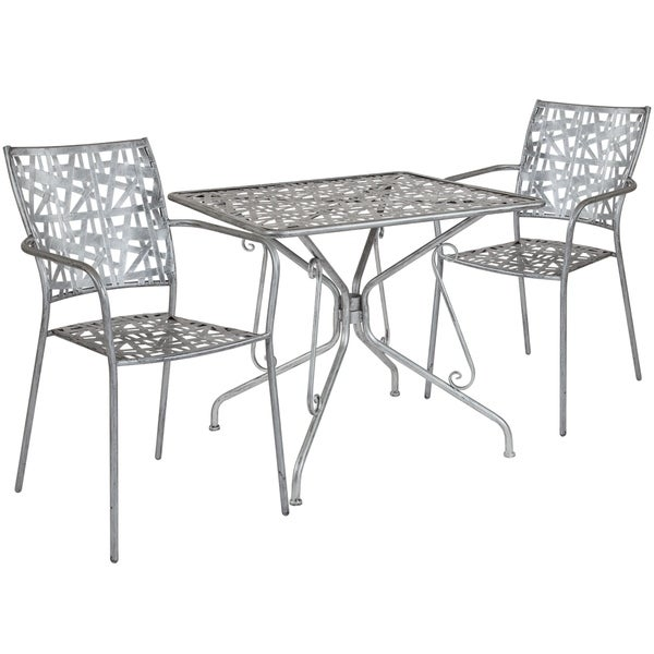 Lancaster Home Stainless Steel 3 Piece Square Table And Chair Set Free Shipping Today 26385968