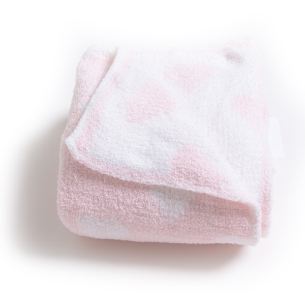Chenille Baby Blanket - Soft Throw Blanket for Cribs and Strollers - Hearts - Pink