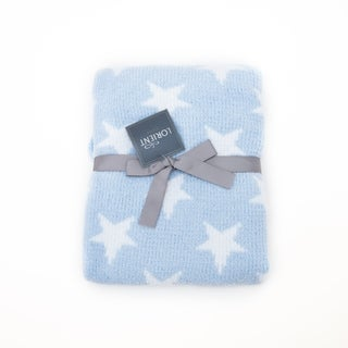 Chenille Baby Blanket - Soft Throw Blanket for Cribs and Strollers - Stars - Blue