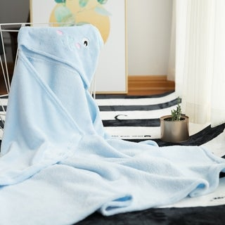Baby Hooded Bath Towel Animal Bathrobe Flannel Towel Blanket - Blue Bear