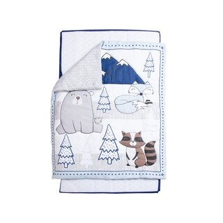 3 Piece Crib Baby Bedding Set - Blue Forest Animals
