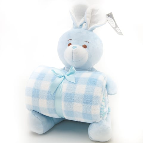Stuffed Animal and Fleece Throw Blanket Gift Set - Blue