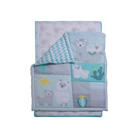 3 Piece Crib Baby Bedding Set - Blue Desert Animals