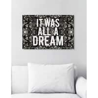 Oliver Gal 'All A Dream Glitter' Typography and Quotes Wall Art Canvas Print - White, Gray