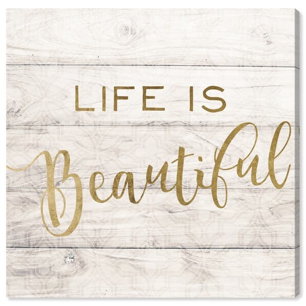 Shop Oliver Gal \'Life Is Beautiful Rustic Gold\' Typography ...