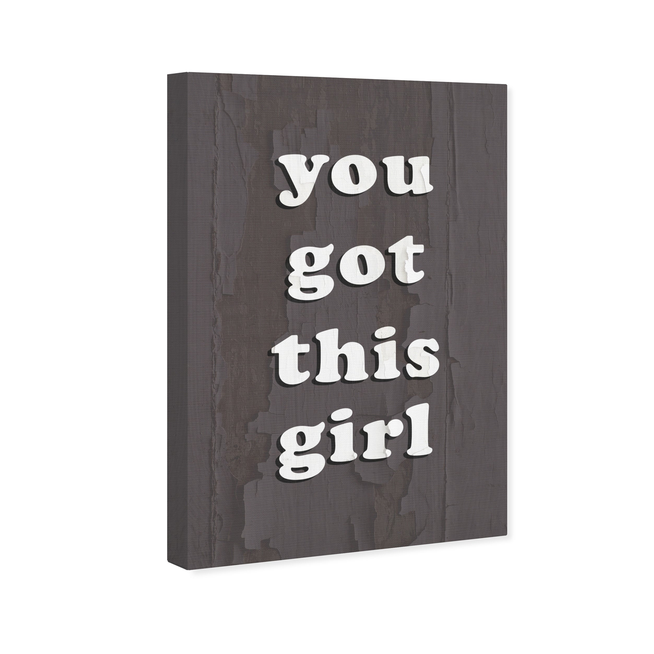 Oliver Gal \'You Got This Girl Grey\' Typography and Quotes Wall Art Canvas  Print - Gray, White