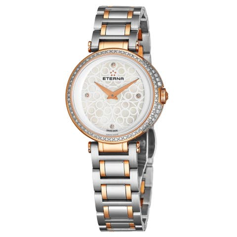 Eterna Women's 2561.59.61.1724 'Grace' Mother of Pearl Dial Two Tone Stainless Steel Diamond Quartz Watch - Mother of Pearl