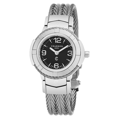 Charriol Women's CE426S.640.003 'Celtic' Black Dial Stainless Steel Swiss Made Quartz Watch
