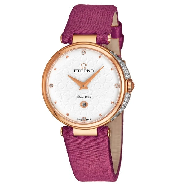 Eterna Women's 2566.60.61.1371 'Grace' White Dial Fuchsia Pink Fabric Strap Rose Goldtone Diamond Quartz Watch