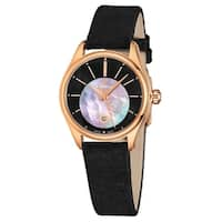 Eterna Women's 2940.56.41.1357 'Avant Garde' Black Mother of Pearl Diamond Dial Black Satin Strap Rose Goldtone Quartz Watch
