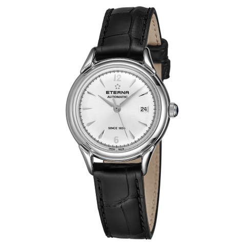 Eterna Women's 2956.41.13.1389 'Heritage 1948 For Her' Silver Dial Black Leather Strap Automatic Watch
