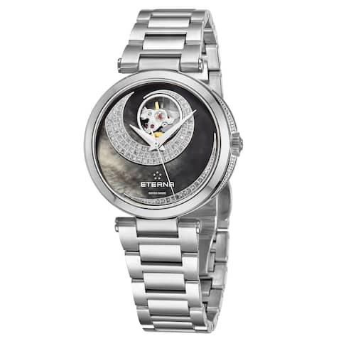 Eterna Women's 2943.54.89.1729 'Grace' Black Mother of Pearl Open Art Diamond Dial Stainless Steel Automatic Watch