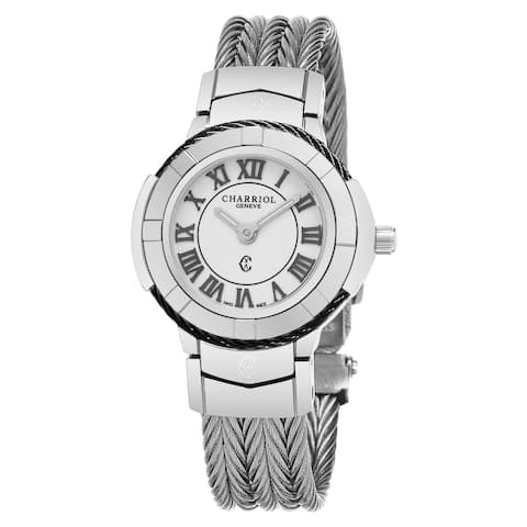 Charriol Women's CE426SB.640.007 'Celtic' White Dial Stainless Steel Swiss Made Quartz Watch