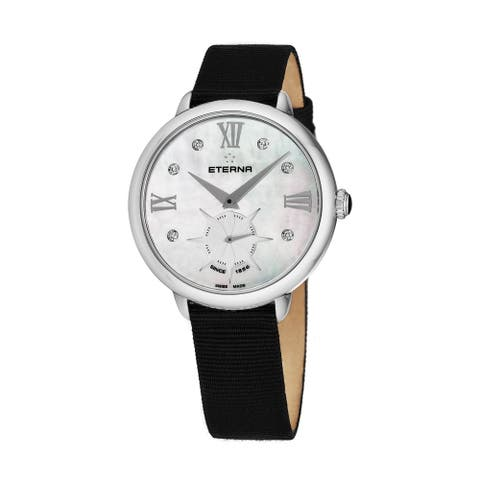 Eterna Women's 2801.41.66.1408 'Eternity' Mother of Pearl Diamond Dial Black Gros Grain Strap Small Seconds Quartz Watch