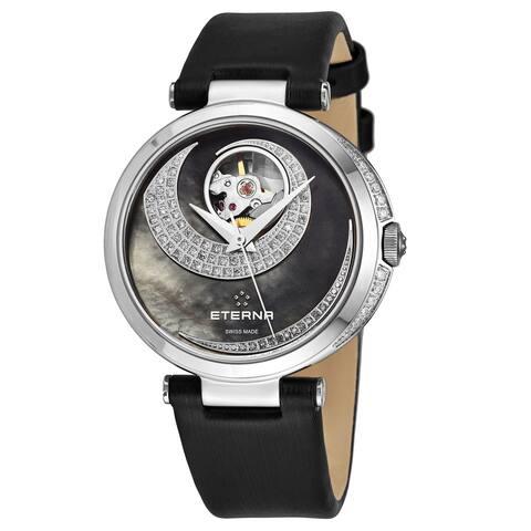 Eterna Women's 2943.54.89.1368 'Grace' Black Mother of Pearl Open Art Diamond Dial Black Satin Strap Automatic Watch