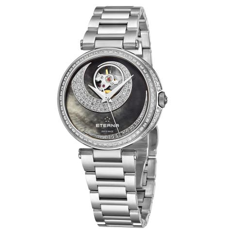 Eterna Women's 2943.58.89.1729 'Grace' Black Mother of Pearl Open Art Diamond Dial Stainless Steel Automatic Watch
