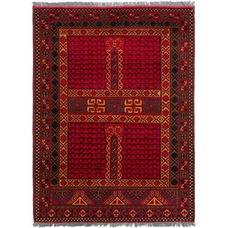 eCarpetGallery  Hand-knotted Finest Kargahi Red Wool Rug - 4'11 x 6'7