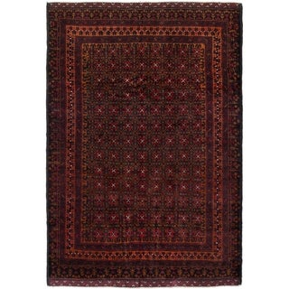 eCarpetGallery  Hand-knotted Teimani Dark Red, Light Brown Wool Rug - 4'3 x 5'11