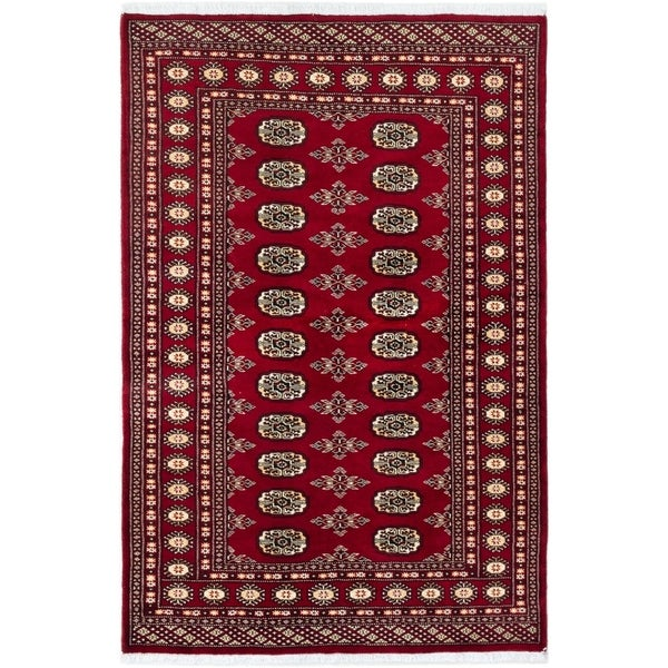 eCarpetGallery Hand-knotted Finest Peshawar Bokhara Dark Red Wool Rug - 4'0 x 6'2