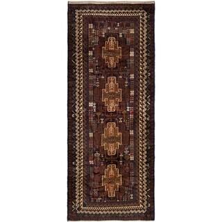 eCarpetGallery  Hand-knotted Royal Baluch Dark Navy Wool Rug - 3'9 x 9'0