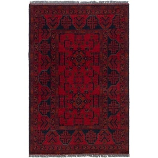 eCarpetGallery  Hand-knotted Finest Khal Mohammadi Red Wool Rug - 3'1 x 4'9