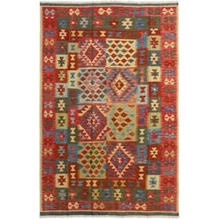 eCarpetGallery  Flat-weave Hereke FW Red Wool Kilim - 6'2 x 9'10