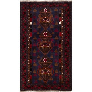 eCarpetGallery  Hand-knotted Teimani Dark Navy, Red Wool Rug - 3'9 x 6'5