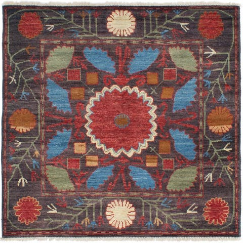 eCarpetGallery Hand-knotted Shalimar Black, Red Wool Rug - 6'0 x 6'5