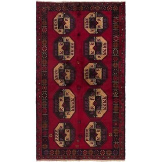 eCarpetGallery  Hand-knotted Teimani Dark Red Wool Rug - 3'7 x 6'5