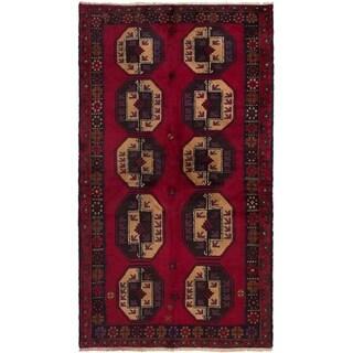 eCarpetGallery  Hand-knotted Teimani Dark Red Wool Rug - 3'7 x 6'5