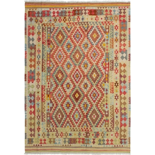 eCarpetGallery Flat-weave Kashkoli FW Red Wool Kilim - 6'8 x 9'8