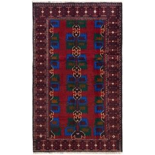 eCarpetGallery  Hand-knotted Rizbaft Dark Red Wool Rug - 3'8 x 6'2