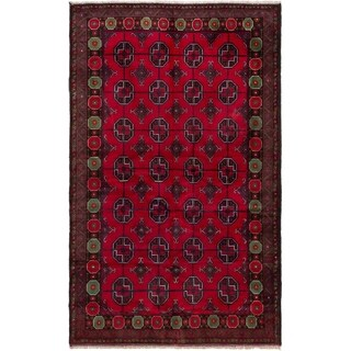 eCarpetGallery  Hand-knotted Teimani Red Wool Rug - 3'10 x 6'3