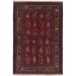 eCarpetGallery  Hand-knotted Finest Rizbaft Dark Copper Wool Rug - 3'9 x 5'7