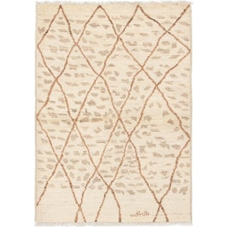 eCarpetGallery  Hand-knotted Tangier Cream Wool Rug - 4'2 x 5'10