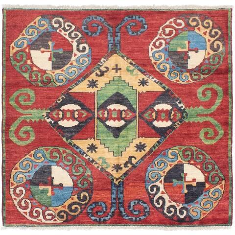 eCarpetGallery Hand-knotted Shalimar Dark Red Wool Rug - 6'5 x 6'0
