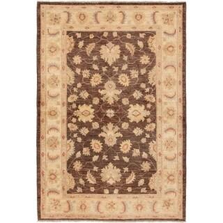 eCarpetGallery  Hand-knotted Chobi Finest Dark Brown Wool Rug - 4'0 x 6'0