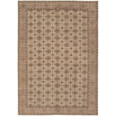 Hand-knotted Antalya Vintage Cream Wool Rug